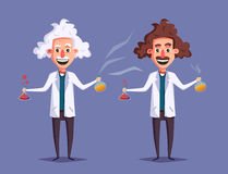 Crazy old scientist. Funny character. Cartoon vector illustration. Mad professor. Science experiment. Remote controller. Old and young man royalty free illustration