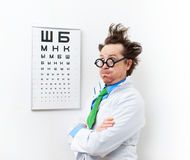 Crazy optometrist Royalty Free Stock Images