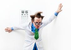 Crazy optometrist Royalty Free Stock Image