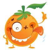 Crazy orange character. A crazy orange with a thumb up Royalty Free Stock Photo