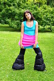 Crazy outfit. Girl in really crazy outfit Stock Photography