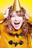 Crazy and overjoyed party girl Royalty Free Stock Images