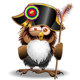 Crazy Owl Cartoon Napoleon Bonaparte. Fun Crazy Owl Cartoon with Bonaparte Hat, and holding a Strange Scepter with Peacock Featers, Truly convinced to be Royalty Free Stock Photography