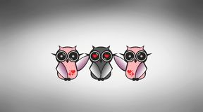Crazy owls Royalty Free Stock Photography