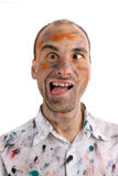 Crazy painter. Isolated on white background Stock Photography