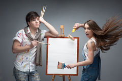 Crazy painters Stock Photography