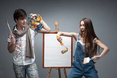 Crazy painters Stock Photo