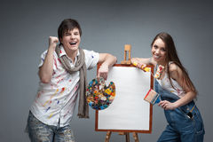 Crazy painters Royalty Free Stock Images