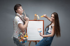 Crazy painters Stock Image