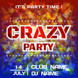Crazy Party bright poster background template. DJ poster mockup. Festival banner design. Vector Royalty Free Stock Photography