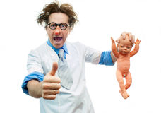 Crazy pediatrician Stock Image