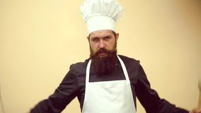 Crazy people. Excited bearded cook. Chef cook ready to cooking. Funny kitchen. Isolated on yellow background. Crazy people. Excited bearded cook. Chef cook stock video