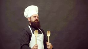Crazy people. Excited bearded cook. Funny cook and comic cookery. Chef cook ready to cooking. Isolated on black. Background stock footage