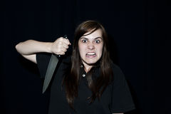 Crazy person with knife Stock Photos