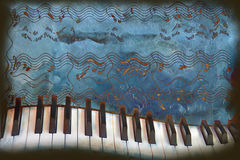 Crazy piano. Musical joke with a warped piano and music notes on a grunge background royalty free illustration
