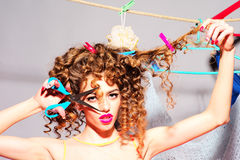 Crazy playful woman with scissors Royalty Free Stock Images