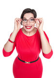 Crazy plus size woman in glasses looking on you. Top view Stock Images
