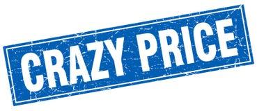 Crazy price square stamp. Crazy price blue square stamp stock illustration