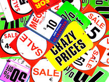 Crazy prices Stock Image