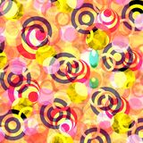Crazy print design. Print design in black, red, yellow, shades of pink Stock Image