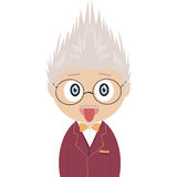 Crazy professor. Image of a professor, No use of gradients or transparency Stock Photo