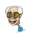 Crazy professor. Mad Professor has escaped from the tube Royalty Free Stock Images