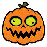 Crazy Pumpkin. Cartoon illustration of a crazy pumpkin jack-o-lantern with green eyes. Great for Halloween vector illustration