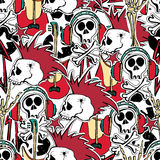 Crazy punk rock abstract background. Skulls, zombie, Stock Photography