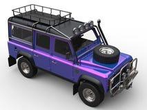 Crazy purple modern four wheel drive car - top down view Stock Photos