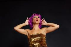 Crazy purple wig girl selfie smartphone fun glasses Royalty Free Stock Images