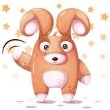 Crazy rabbit with big eye. Hello, hi illustration. vector illustration