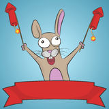 Crazy rabbit with rockets. Royalty Free Stock Images