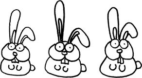 Crazy rabbits. Crazy little isolated rabbits. vector image Stock Photos