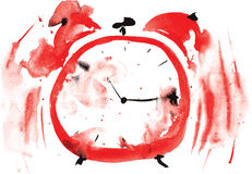 Crazy red alarm clock, painted in watercolor Royalty Free Stock Photo
