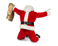 Crazy red white santa claus job done. Funny crazy hilarious red white santa claus celebration clench fist holding bag in the air job done isolated on white stock image
