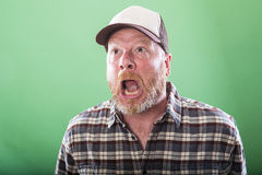 Crazy redneck man. Redneck white man with a crazy expression on his face Royalty Free Stock Photography