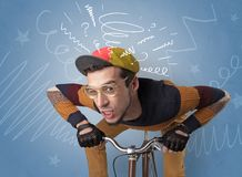 Crazy rider on the bike royalty free stock images