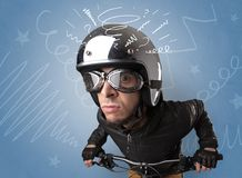 Crazy rider on the bike stock photography