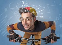Crazy rider on the bike royalty free stock photography