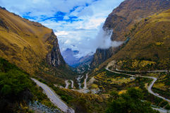 Crazy Road. This road is right outside of Olltayambo, Peru and climbs thousands of feet in only a couple miles Stock Photography