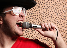 Crazy rock and roller singer with a big black hat, party glasses in front of a cheetah skin background Stock Image
