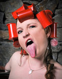 Crazy Rollers Girl Sticking Out Tongue Funny Face Stock Image