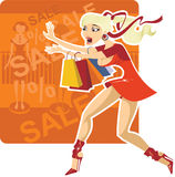 Crazy sale. Young woman on a shopping spree with lots of bags Royalty Free Stock Photos