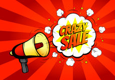 Crazy sale banner with loudspeaker or megaphone in retro pop art style Royalty Free Stock Images