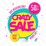 Crazy Sale Poster, Banner or Flyer design. Crazy Sale with 50% Off for this weekend only, Creative colorful Poster, Banner or Flyer design Royalty Free Stock Image