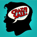 Crazy sale thoughts head Stock Photography