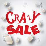 Crazy sale white red design Royalty Free Stock Photos