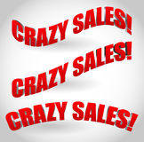 Crazy sales text banners Royalty Free Stock Image