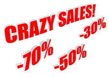 Crazy sales text with percentages Royalty Free Stock Photo