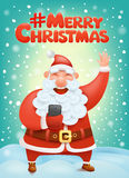 Crazy santa claus cartoon character making selphie Hashtag merry christmas Stock Images